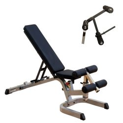 Body-Solid Heavy Duty Flat Incline Decline Bench (GFID71) with Leg Developer Attachment (GLDA3)