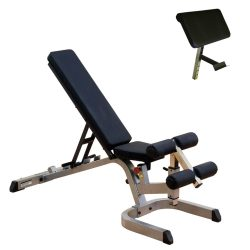 Body-Solid Heavy Duty Flat Incline Decline Bench (GFID71) with Preacher Curl Station (GPCA1)