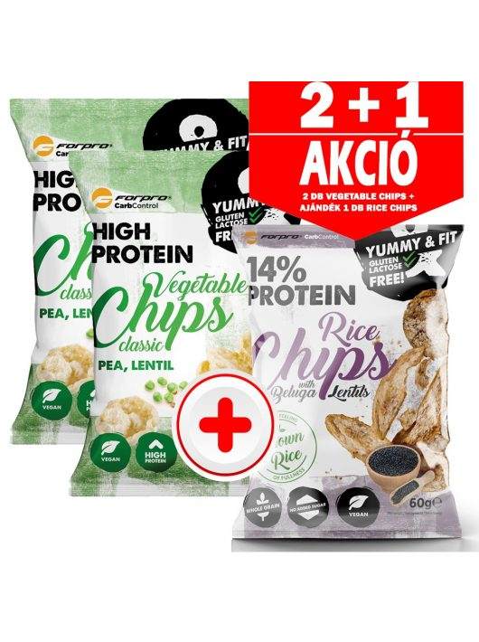 2db Forpro Protein Vegetable Chips Classic 50g + AJÁNDÉK 1db Rice Chips