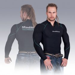 MADMAX Compression Long Sleeve Top with zip Blue hosszú ujjú felső cipzárral