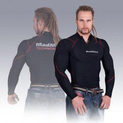 MADMAX Compression Long Sleeve Top with zip Red hosszú ujjú felső cipzárral